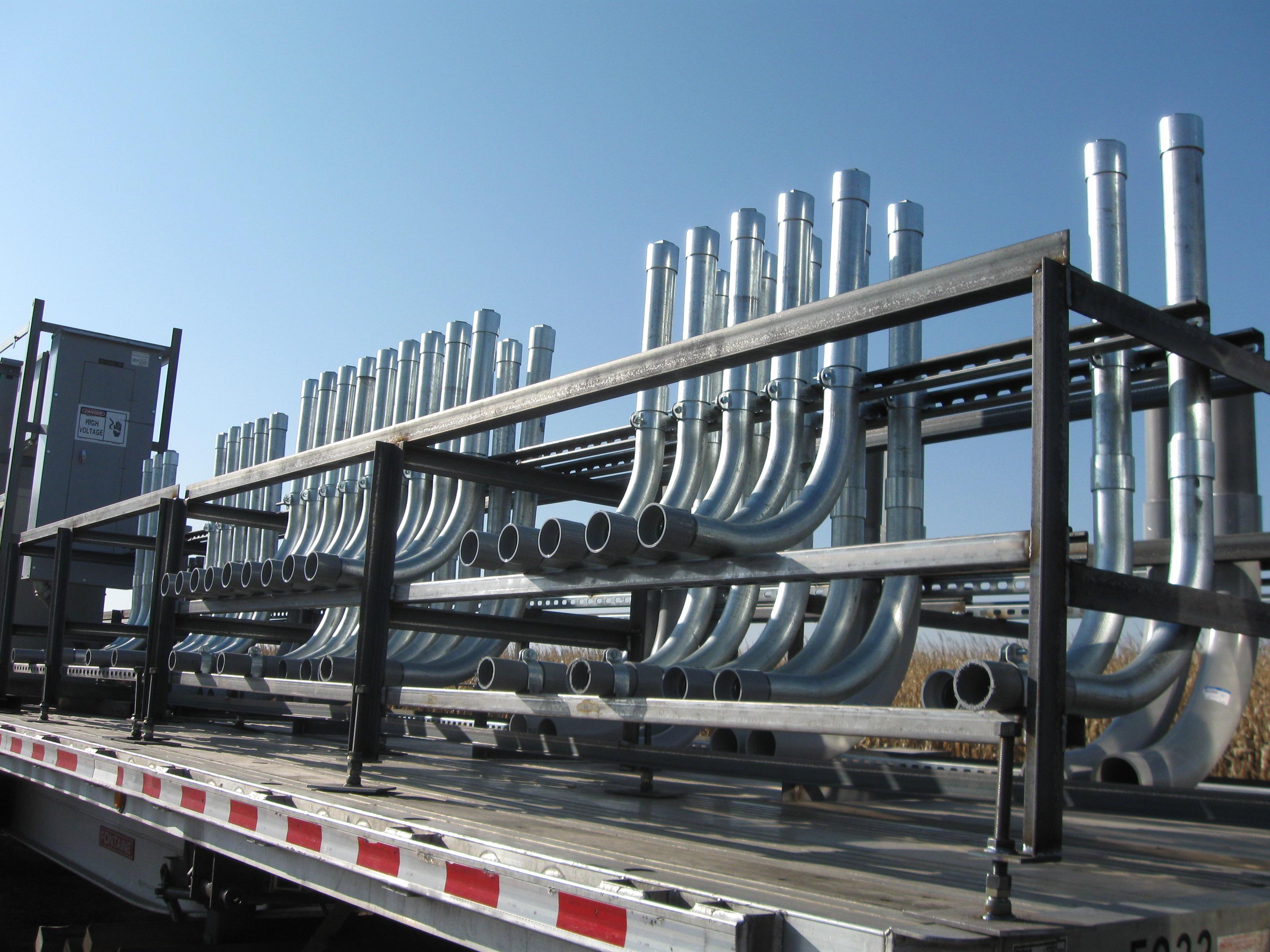 Underground conduit risers interfab